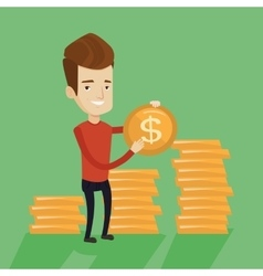 Wealthy businessman holding dollar coin vector