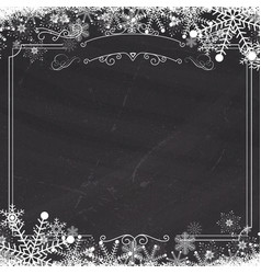 Winter snowflake retro border and blackboard vector