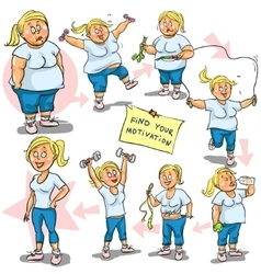 Woman achieving her Weight-Loss goal vector image