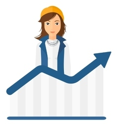 Woman with growing chart vector image