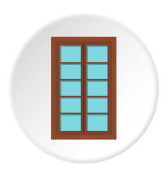 Wooden brown latticed window icon circle vector