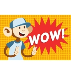 Wow text monkey classic pop art design vector
