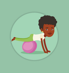 young woman exercising with fitball vector image