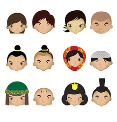 a kids faces on a white background vector image vector image