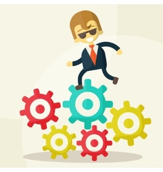 businessman goes to success and gears vector image