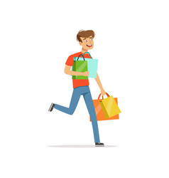 crazy man with paper shopping bags shopaholic man vector image