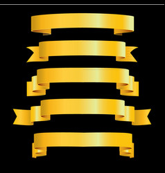 gold ribbons on black background vector image vector image