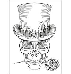 Human skull in a top hat vector