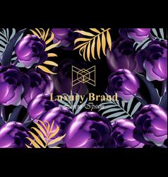 luxury card with purple tulip flowers vector image