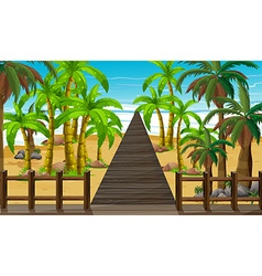 Nature scene with bridge to the ocean vector image vector image