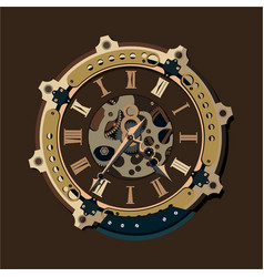 steampunk clock background vector image