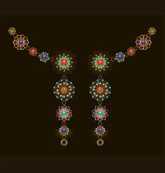 symmetrical ethnic decoration with lapis lazuli vector image