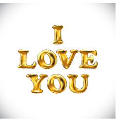gold letter i love you balloons golden characters vector image