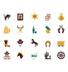 Large set of Western flat icons vector image