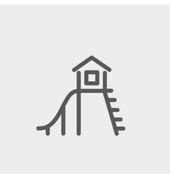 Playhouse with slide thin line icon vector image