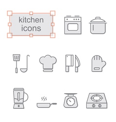 Thin line icons set Kitchen vector image