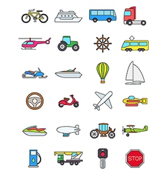 Color transport icons set vector image