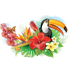 Red hibiscus toucan and tropical flowers vector image vector image
