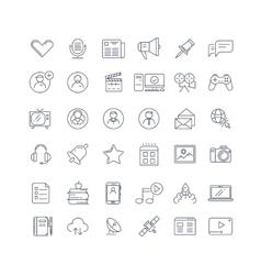 Social media network line icons set vector image