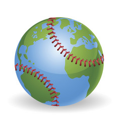 world globe baseball ball concept vector image