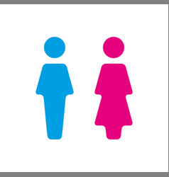 blue and pink wc icon toilet vector image vector image