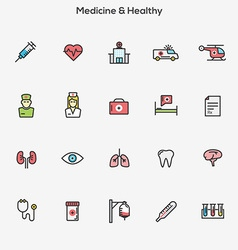 Flat line color icons Medicine and Healt vector image vector image