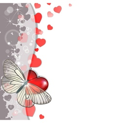 greeting card with hearts and butterfly vector image vector image