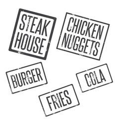 grunge stamps of fast food theme vector image vector image