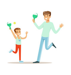 smiling man and boy playing table tennis dad and vector image