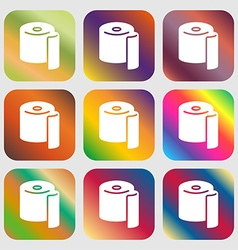 Toilet paper icon sign nine buttons with bright vector
