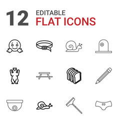 12 outline icons vector