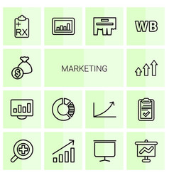 14 marketing icons vector image