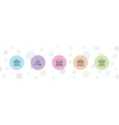 5 courthouse icons vector