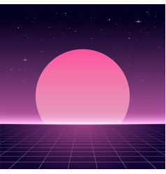 80s retro design futurism sci-fi background vector image