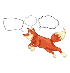 A fox in a jumping position with empty thoughts vector image vector image