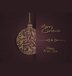 abstract greeting card with floral xmas ball vector image