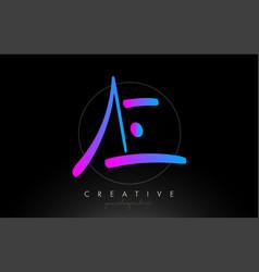 Ae artistic brush letter logo handwritten vector