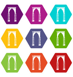 Archway construction icons set 9 vector