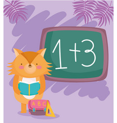 back to school fox reading book with bag ruler vector image