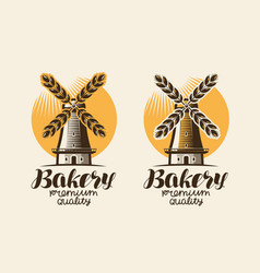 Bakery bakehouse logo or label mill windmill vector