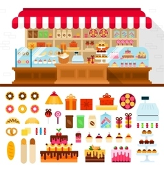 Bakery with confectioneryon the shelves vector
