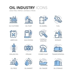 Blue Line Oil Industry Icons vector