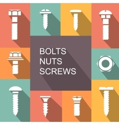 Bolts nuts and screws colored icons vector