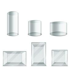 Box glass realistic plastic transparent cube vector