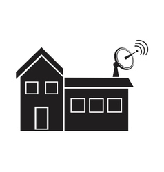 Building house with antenna dish signal vector