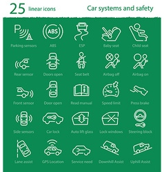 Car interface and electronic safety systems icons vector