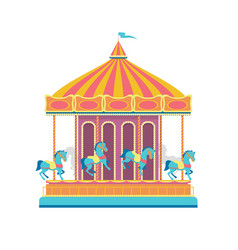 cartoon color merry go round carousel vector image
