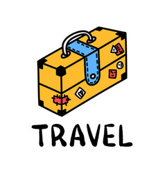 cartoon travel suitcase doodle lettering for vector image