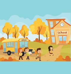 children going to school of vector image