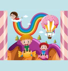 Children in fantacy land with candy vector